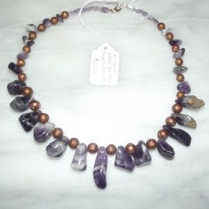 Natural Large Amethyst Nugget Gemstone Necklace